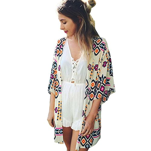 omen Printed Chiffon Shawl Kimono Cardigan Tops Cover up Blouse (L)+Free Headpiece Hair Band (Printed Kimono Top)