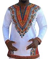 Makkrom Men's Long Sleeve Tribal Dashiki Floral Top Blouse