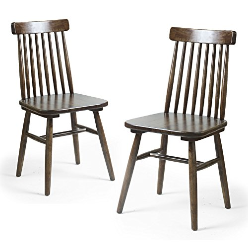 Adeco Elm Wood Vintage-Style Dining Chair with Vertical Slat Back, Dark Brown (Set of - Slat Pub Back Chair