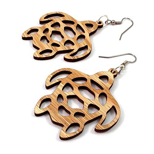 Sea Turtle Earrings made of Sustainable Oak Wood - Large - Wooden Hook Dangle Drop ()