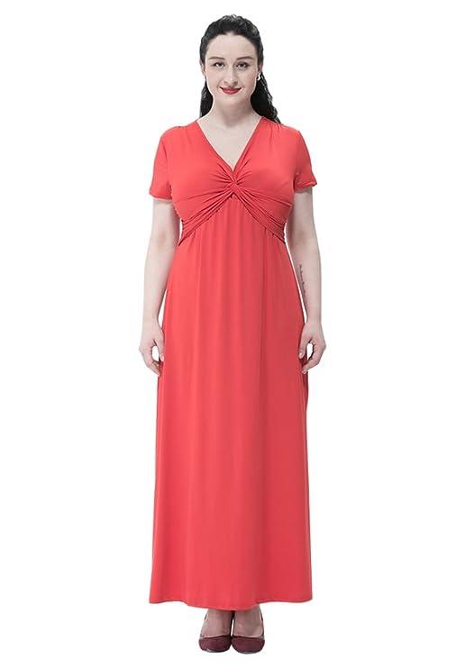 MissFox Talla Grande Vestido para Mujer, Largo Vestido de Cóctel Fiesta Playa, Color Sólido, Manga Corta L-6XL: Amazon.es: Ropa y accesorios