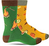 Cool Novelty Fun Socks For Men: Mens Funny Dress Socks: Crazy & Funky Colorful Sock: Hobbies Camping Fire pit Campout Hiking