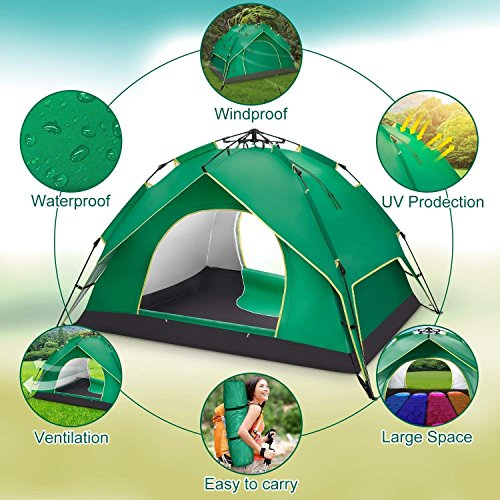 BATTOP Kids Pop Up Play House Tent 3 in 1 Set Adventure Play Tent With Tunnel Indoor Outdoor for Toddlers (Balls Not Included) (Green and Red)