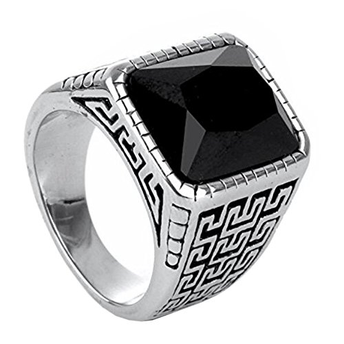 PAURO Men's Stainless Steel Vintage Great Wall Pattern Square Diamond CZ Ring Black Gem Stone Size 10
