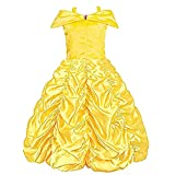Flgoo Princess Dress Costume for Little Girl's Comfort in Mind Elegant Style (Yellow, 3 Years)