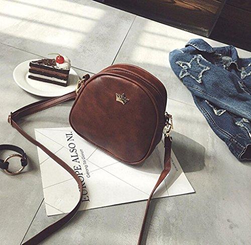 Tongshi Moda mujeres medio círculo bolso de cuero Crossbody hombro Messenger Bag Café