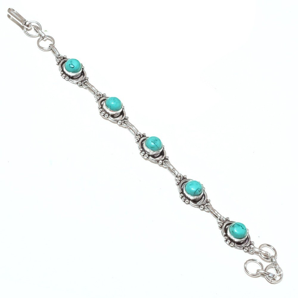 Best Jewelry Blue Turquoise Sterling Silver Overlay 15 Grams Bracelet 7-9 Long