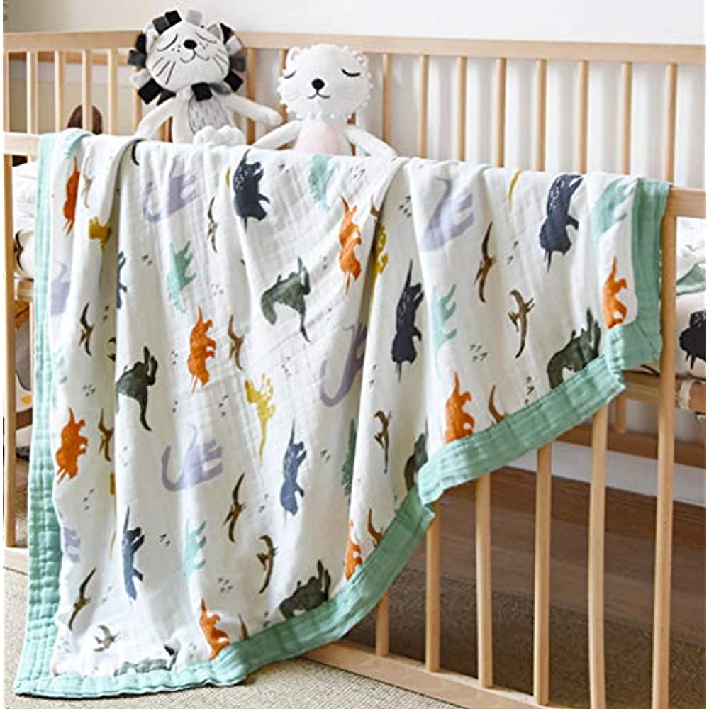 Oversized 47 x 47-2 Layers Muslin Baby Blanket for Baby Boy /… Dinosaur Bamboo Summer Blanket for Toddler Dinosaur Dinosaur Muslin Stroller Blanket