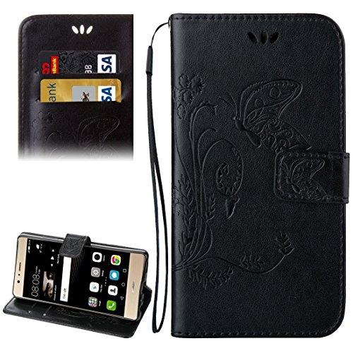 Mobile Phone Cases&decorate Huawei P9 Crazy caballo textura de impresión Horizontal Flip caja de cuero con titular y ranuras para tarjetas y billetera y cordón ( Color : Dark Blue ) Black