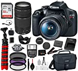 Canon EOS Rebel T7 DSLR Camera with 18-55mm and 75-300mm Lenses Professional Bundle Package Deal...