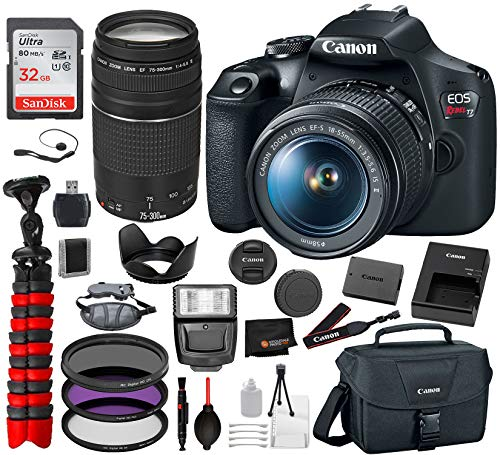 Canon EOS Rebel T7 DSLR Camera with 18-55mm and 75-300mm Lenses Professional Bundle Package Deal –SanDisk 64gb SD Card + Canon EOS Shoulder Bag + More