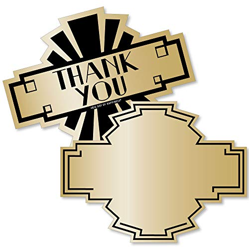 Roaring 20's - Shaped Thank You Cards - 1920s Art Deco Jazz Party Thank You Note Cards with Envelopes - Set of 12