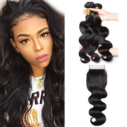 ALIMICE Brazilian Body Wave Bundles With 4x4 Lace Closure with Body Wave 3 bundles Virgin Human Hair Bundles Natural Color (18 20 22 + 16 closure) (18 20 22 Inch Brazilian Body Wave)