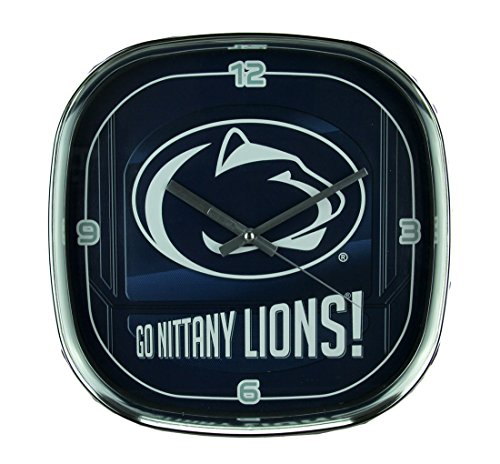 - The Memory Company Penn State University Nittany Lions Glass Face Wall Clock Chrome Finished Frame