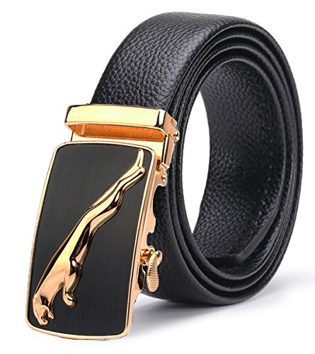 ITIEZY Men's Leather Belt Ratchet Automatic Buckle (Sliding Buckle) Belt Man Designer Black Luxury Strap