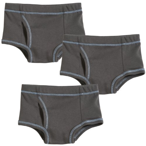 City Threads Boys' Brief Underwear All Cotton for Sensitive Skins SPD Sensory Friendly 3-Pack, All Charcoal, 14 ()