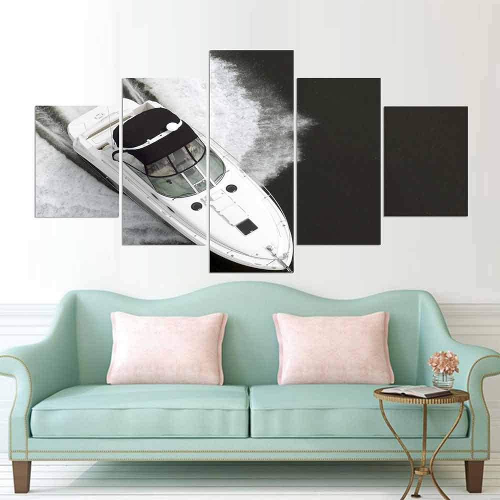 PEJHQY Pintura de la Lona Arte de la Pared Moderno 5 Piezas Barco Imágenes del Paisaje Impreso Cartel Modular Marco Sala de Estar Decoración del hogar,Cuadro en Lienzo Monet