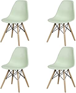 GIA Mid-Century Plastic Chair, 4-Pack, Green/Wood Legs