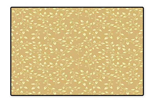 Stain Resistant Rug Floral Leaf Patterns Fall Inspired Modern Simple Pure Nature Motifs Chic Modern Art Deco Beige Yellow for Living Room Dining Room Family 5'8