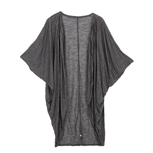Blackobe Womens Casual Lightweight Knitted Long Sleeve Sweater Cardigan (L, Dark Gray)