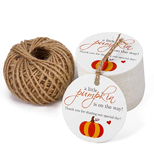 WRAPAHOLIC Pumpkin Gift Tags with String - 100PCS Kraft Paper Tags Pumpkin Fall Tags with 100 Feet Natural Jute Twine for Wedding, Baby Shower, Party Favors Baby Shower Favor Tags