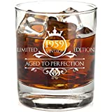 1959 60th Birthday Whiskey Glass for Men and Women - Vintage Aged To Perfection - Anniversary Gift Idea for Him, Her, Husband or Wife - Presents for Mom, Dad - 11 oz Bourbon Scotch Tumbler