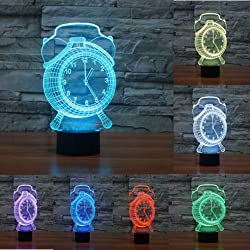 Alarm Clock 3D LED Night Light Touch Table Desk Optical Illusion Lamps, Elstey 7 Color Changing Lights with Acrylic Flat & ABS Base & USB Charger for Home Decor