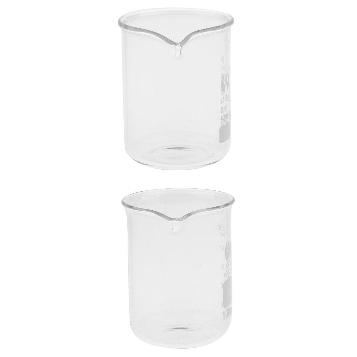 MagiDeal 50ml 100ml Glass Beaker Measuring Beaker Lab Borosilicate Glassware Heat and Thermal Resistant non-brand