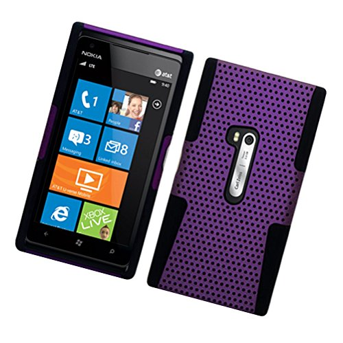 Case Hybrid Cover Mesh - Nokia Lumia 920 Case - Wydan (TM) Hybrid Mesh Hard Soft Perforated Case Cover for Nokia Lumia 920 - Purple on Black w/Wydan Stylus Pen