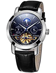 TSS Mens Automatic Skeleton Moonphase Watch Leather Band T8030PC2