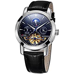 TSS Men's Automatic Skeleton Moonphase Watch Leather Band T8030PC2