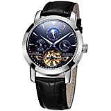 TSS Men's T8030PC2 Automatic Skeleton Moonphase Watch with Leather Band