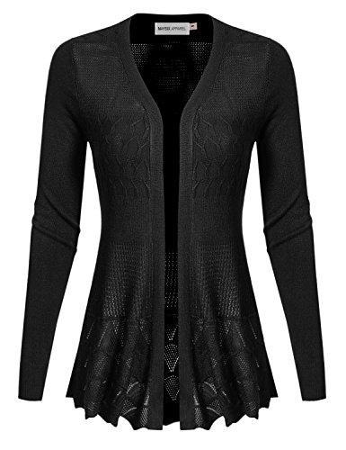 MAYSIX APPAREL Long Sleeve Lightweight Crochet Knit Sweater Open Front Cardigan For Women BLACK S Crochet Cotton Light