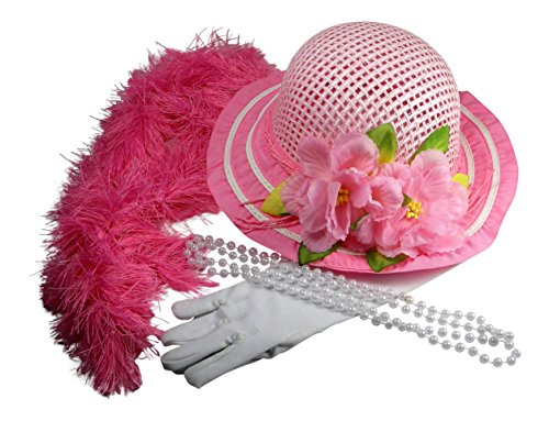 Butterfly Twinkles Girls Tea Party Hat Dress Up with Necklace Boa and White Gloves - Light Pink -
