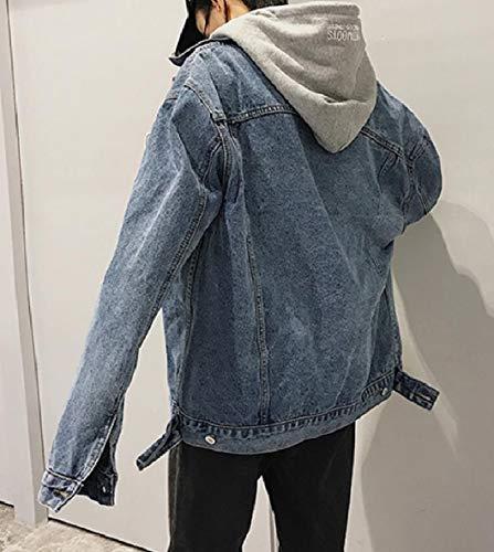 Di Loose Con Giacca fit Cappuccio Xinheo Bomber Blu Tasca Mens Lavato Jeans Di Denim w405tcBq