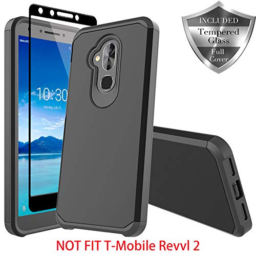 T-Mobile Revvl 2 Plus Case, Alcatel 7 Folio Case, Alcatel 7 Case, SWODERS Heavy Duty Hybrid Armor Shockproof Anti Slip with Tempered Glass Screen Protector Case for Revvl 2 Plus - Black