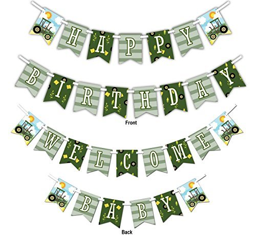 Farm Tractor Time MultiUse Happy Birthday or Welcome Baby Shower Party Banner Decoration 23ft Ribbon