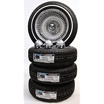 13 100 Spoke Reverse Wire Wheels Knock Offs and White Wall Tires