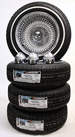 14 100 Spoke Reverse Wire Wheels Knock Offs And White Wall Tires