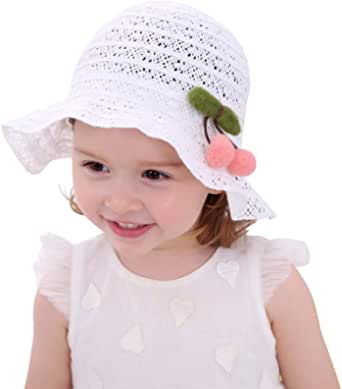 jerague Little Kids Girls Breathable Summer Hat Lace White Floppy Beach Sun Cap UPF 50+