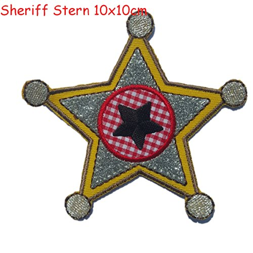 2 iron-on appliques set - Sheriff Star 9X10Cm and Police Car 9X8Cm embroidered application set by TrickyBoo Design Zurich Switzerland (Halloween Food Wording)