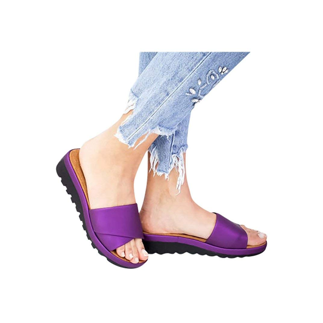 Women's Aditi Low Wedge Dress Sandals Casual Flip Flops Buckle Strap Wedges Sandals Platforms Shoes Purple by NIKAIRALEY Shoes