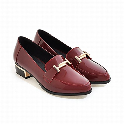 Show Shine Womens Low Heel Slide Casual Loafers Shoes Red j2IZEROtgp
