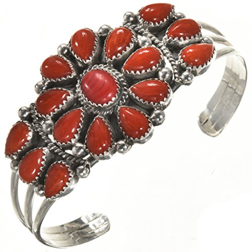 Navajo Old Pawn (Coral Old Pawn Style Indian Bracelet Ladies Navajo Cluster Cuff 0242)