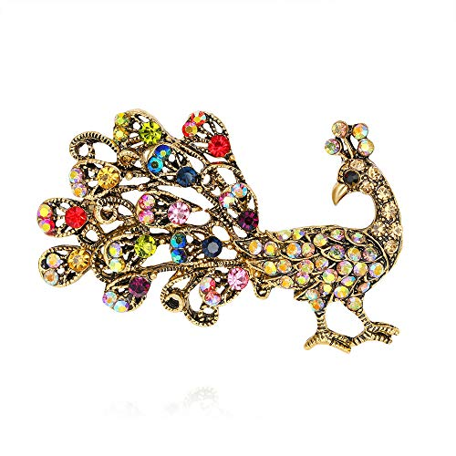 -  Orcbee  _Hot New Large Fashion Drop Pendant Wedding Lady Rhinestone Brooch Gift for Mother's Day (Peacock)