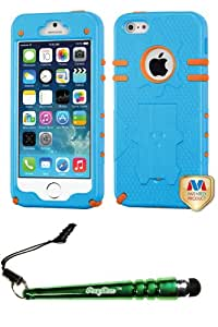 FoxyCase(TM) FREE stylus AND APPLE iPhone 5 Natural Baby Blue Orange Phantom Hybrid Protector Cover cas couverture