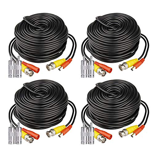 HISVISION 4 Pack 100ft BNC Video Power Cable Security Camera Wire Cord Extension Cable with 8pcs BNC to RCA Connectors for CCTV DVR Surveillance System ()
