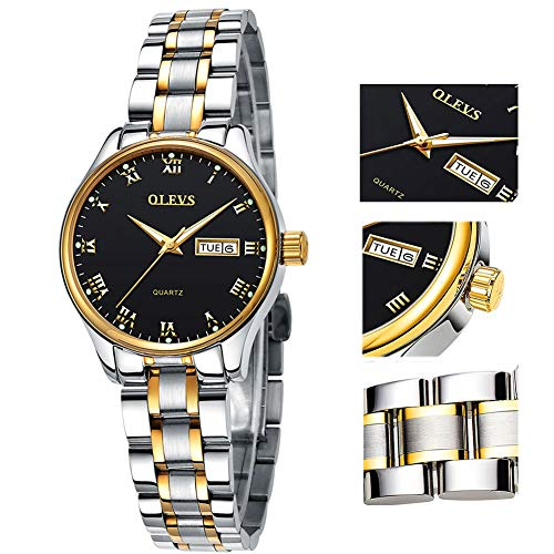 Women's Watch with Day and Date,Female Watch for Small Wrist,Stainless Steel Watches for Women,Black Roman Numerals Watch Women,Ladies Wrist Watches on Clearance,Luminous Dial Watches for Women