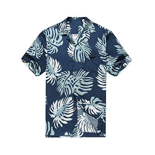 Leaves Mens Hawaiian Aloha Shirt (Hawaii Hangover Men's Hawaiian Shirt Aloha Shirt L Palm Leaves In Navy Blue)