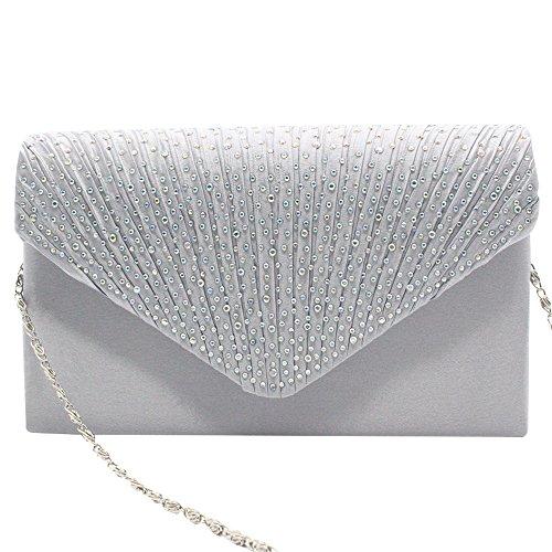 Clutch Party Various Pleated Satin Lady Bag Purse diamante Wiwsi Handbag Color zXRgxF